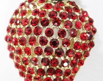 Vintage jewelry brooch in  bright red rhinestone strawberry brooch Sale half off