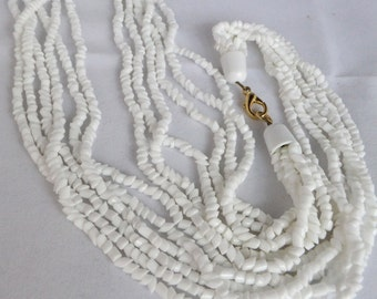 Vintage White Bohemian glass bead 6 strand necklace mint