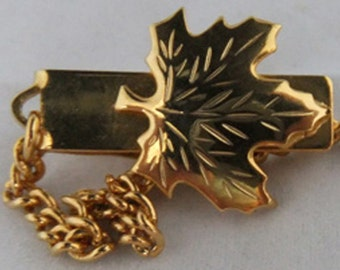 Vintage jewelry brooch in gold tone maple leaf sweater guard 60s brooch Free shipping within USA Sale half off