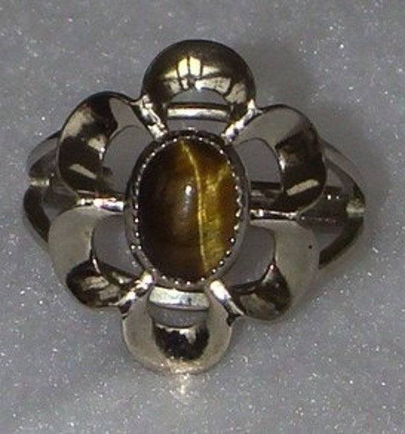 Vintage jewelry ring by Beau Sterling tigers eye ring 1950s ring