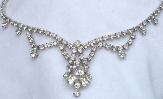 Vintage jewelry necklace Art Deco Edwardian silver tone clear rhinestone necklace  40s Sale save 20.oo