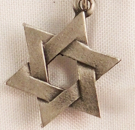 Vintage silver tone Star of David stick pin 60s