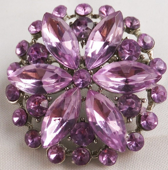 Vintage jewelry brooch in purple passion rhinestone abstract snow flake or flower brooch 1950s Sale save 10.oo