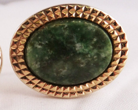 Vintage gold tone and Malachite cuff links or studs these are huge  from 80s