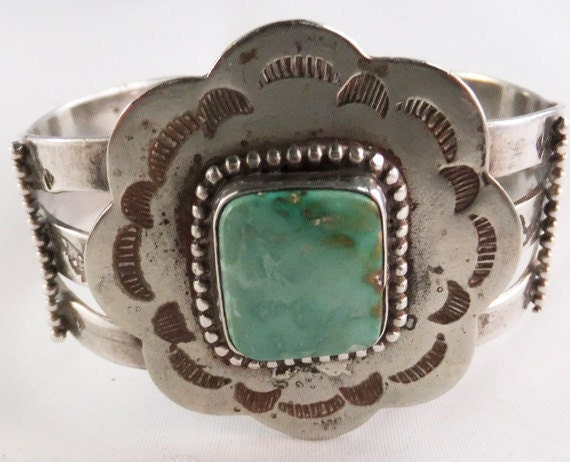 Vintage Thunderbird Jewelry Maker silver and turqoise cuff bracelet 1970's