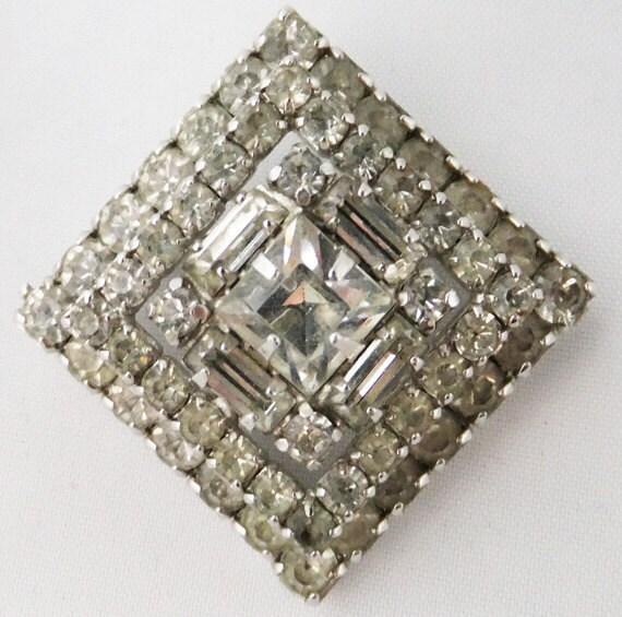 Vintage jewelry brooch in clear rhinestone brooch hand set in high polish silver tone 60s Sale half off