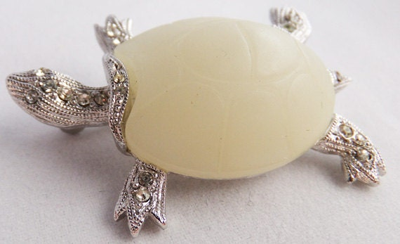 Vintage jewelry brooch by Hattie Carnege silvertone with rihnestones  turtle brooch with faux ivory shell