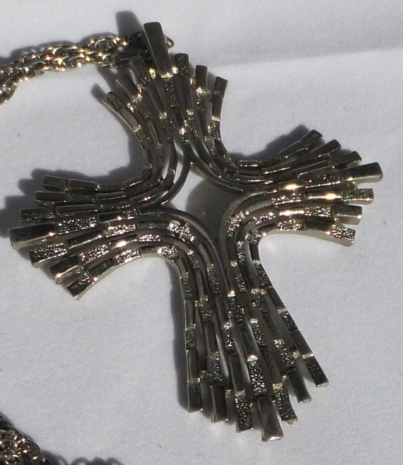 Reserved for Paulett Vintage  Huge silver tone cross necklace Sale save 10.oo