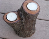 Reclaimed Wood Double Tea Light Candle Holder