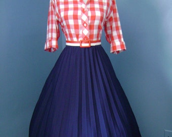 VINTAGE  1960s Navy Blue Accordion Style Lucy Pinup Pleated Full Skirt