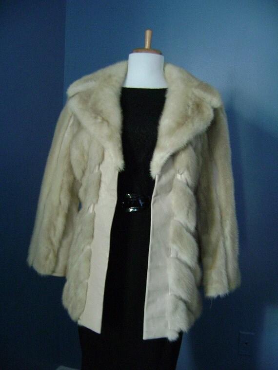 RESERVED    OBO or Best Offer   Vintage  50s 60s MOD Blonde Mink Fur and Leather Jacket