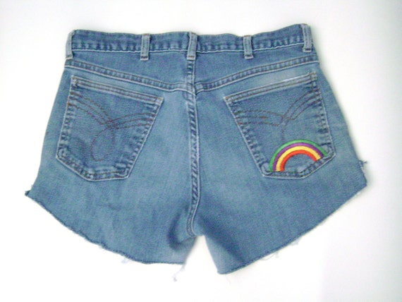 SALE Vintage 60s 70s Blue Denim Hippie Rainbow Embroidered Jean Cut Off Shorts