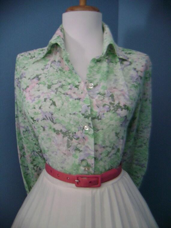 Vintage 50s 60s Atomic Floral Long Sleeve Button Down Blouse