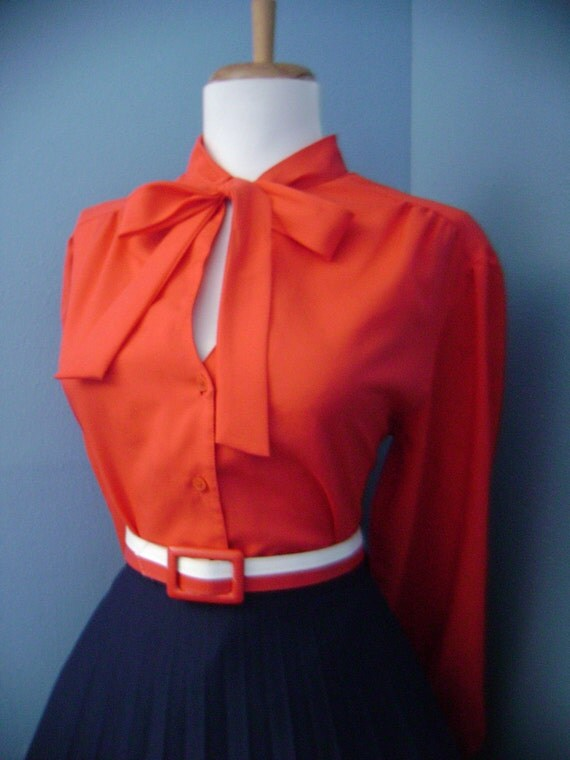Flirty 1950s 1960s Red Button Down Long Sleeve Blouse w Ascot Tie Neck & Keyhole