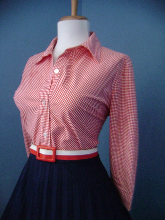 Vintage Cotton Red and White Gingham Plaid Button Down Blouse