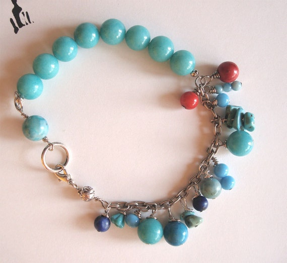 Shades of Blue and Red Bead Bracelet Turquoise Coral Jasper on Vintage Pewter chain