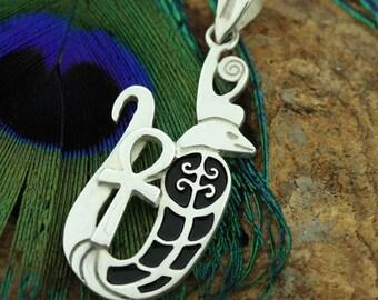 Egyptian Silver Royal Wadjet Snake With Ankh Pendant