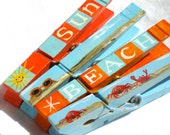 SUN and BEACH hand painted magnetic clothespin set