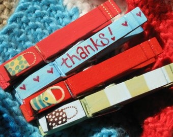 THANKS PURSES hand painted magnetic clothespin set (red,green,blue)