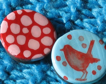 BIRD SILHOUETTE and SPOTS hand painted magnet set (turquoise and red)