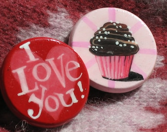 I LOVE YOU CUPCAKE hand painted magnet set