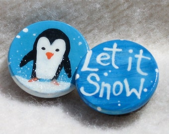 SNOW PENGUIN hand painted magnetic clothespin set