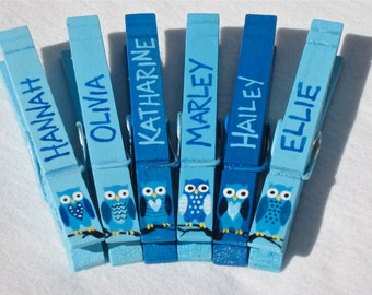 OWL PARTY FAVORS (6) personalized hand painted magnetic clothespins