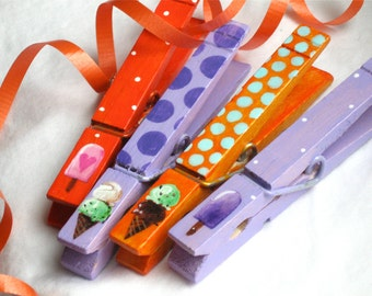 ICE CREAM CONES purple and orange hand painted magnetic clothespin set