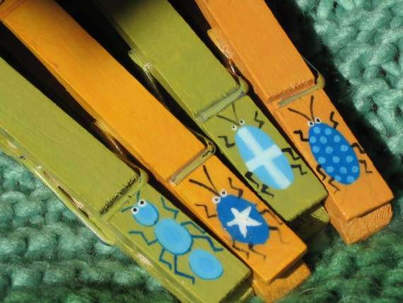 PAINTED CLOTHESPINS bugs beetles swiss cross mustard olive turquoise magnets