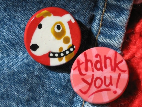 THANK YOU DOG hand painted magnet set