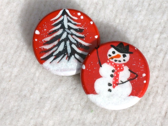 SNOWMAN AND TREE hand painted Christmas magnet set