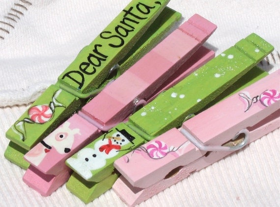 DEAR SANTA hand painted magnetic clothespin set