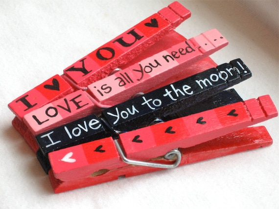 I LOVE YOU hand painted magnetic clothespin set