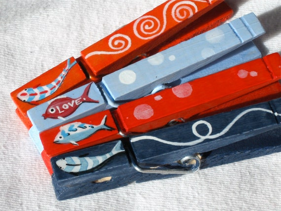 LOVE FISH hand painted magnetic clothespin set