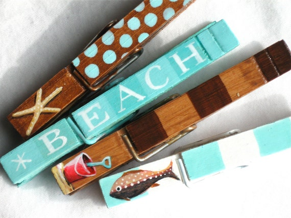 AT THE BEACH hand painted magnetic clothespin set