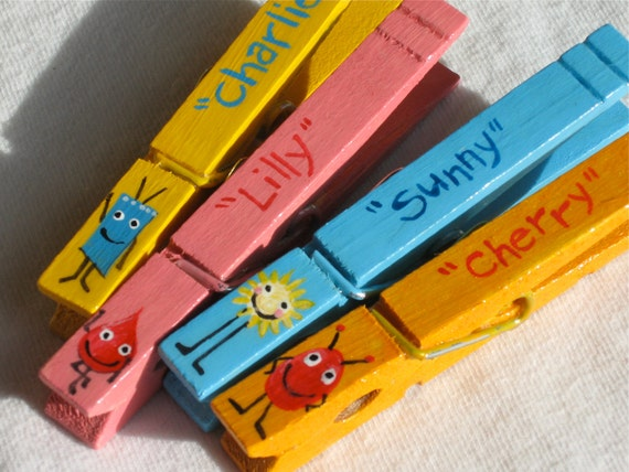 LITTLE MONSTERS hand painted magnetic clothespin by ...