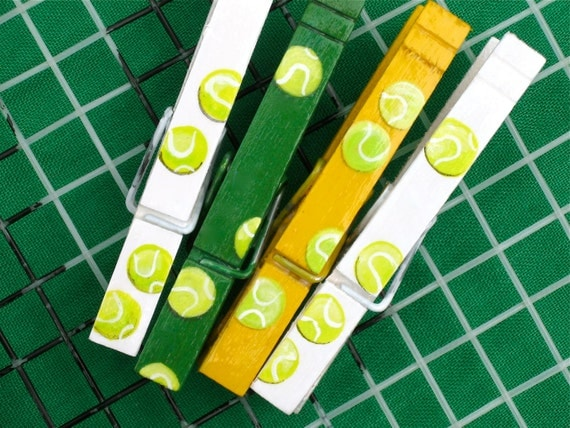 TENNIS BALLS hand painted magnetic clothespin set