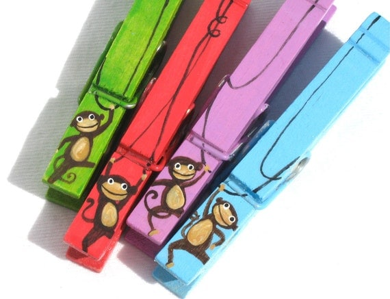 MONKEYS hand painted magnetic clothespin set