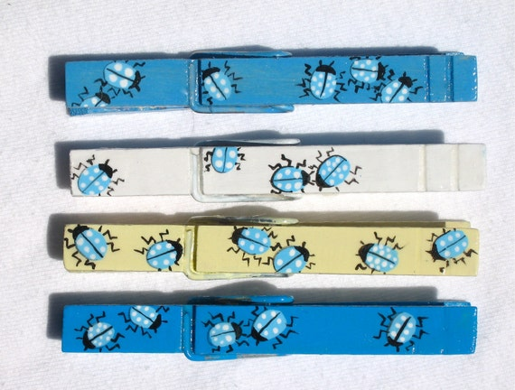 BLUE LADY BUGS hand painted magnetic clothespin set