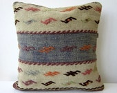 Antique handmade kilim (rug) pillow case -from eastern anatolia