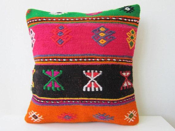 Antique handmade kilim (rug) pillow case -from eastern anatolia