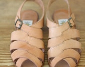 Nude Leather Sandals by Sacha Paris/Charles Kammer 36 1/2