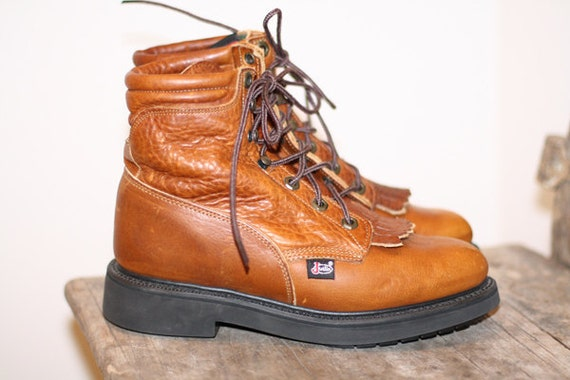 Warm Brown Leather JUSTIN Work Boots
