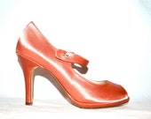 Coral Satin Platform Peep Toe Heels, 7