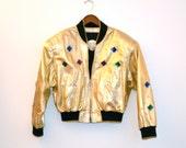 Vintage 80s Metallic Gold Leather Jacket, Size M// Vintage Gold Leather Bomber Jacket