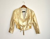 Amazing Vintage 80s Gold Leather Jacket with Rhinestones and Gold Studs, Size M