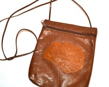 Vintage Brown Leather Purse By Carlos Falchi// Vintage 80s Brown Leather Small Shoulder Bag