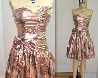 Metallic 80's Prom Dress by Jessica Mcclintock Size XXS XSmall GOLD 80s Prom Dress