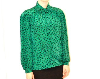 Vintage Green Polka Dot Shirt Size Medium Large With Bow// Vintage Green and Black Polka Dot Shirt Size Large