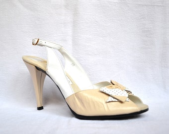 80s Vintage High Heels Peep Toe Bow Shoes Size 9 10 Cream Off White Slingback Heels Shoes// 80s Cream White Wedding High Heels size 9 10